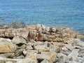 Pink granite coast summer scenery at the in brittany france Stock Image