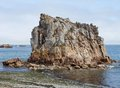 Pink granite coast summer scenery at the in brittany france Royalty Free Stock Image