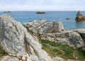 Pink granite coast summer scenery at the in brittany france Stock Images
