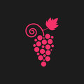 Pink grape icon on black background