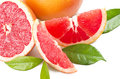 Pink grapefruit close up on the white Royalty Free Stock Images