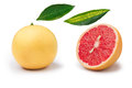 Pink grapefruit and parts isolated Royalty Free Stock Photo