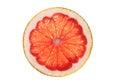 Pink grapefruit slice isolated on white background Royalty Free Stock Photo