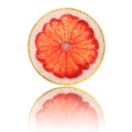 Pink grapefruit slice isolated on white background back lighted Royalty Free Stock Photo