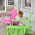 Pink and green chairs Watch Hill Rhode Island USA Royalty Free Stock Image