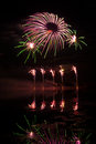 Pink and green fireworks reflected in a murky lake Royalty Free Stock Image