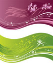 Pink and green floral wavy banners Stock Photo