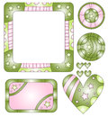 Pink and green labels and graphics Royalty Free Stock Image