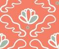 Pink green ornament bloom seamless pattern