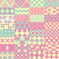 Pink, green and yellow patchwork seamless vector pattern