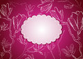 Pink greeting card with floral background Stock Photo