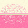 Pink Greeting Card with Flower and Butterfly Stock Images