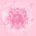 Pink Grunge Crest Stock Photography