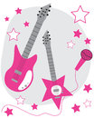 Pink guitars hot rock star Stock Image