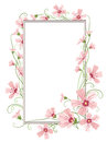 Pink gypsophila flowers border frame template