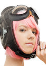 Pink hair girl in aviator helmet picture of Royalty Free Stock Photo