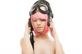 Pink hair girl in aviator helmet picture of Stock Image