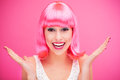 Pink hair girl laughing Royalty Free Stock Photography
