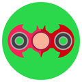 Pink hand-spinner in the form of a bat. Icon a flat style. Vector image on a round light green background. Element of