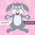 Pink happy easter card with bunny rabbit a greeting a cute on background eps file available Stock Image