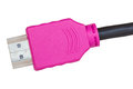 Pink hdmi cable isolated white background Royalty Free Stock Photos
