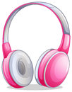 A pink headset illustration of on white background Stock Photos