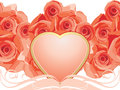 Pink heart with blooming roses Royalty Free Stock Photography