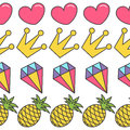 Pink heart, crown, diamond, pineapple. Quirky cartoon Seamless Pattern White background. Flat design. Royalty Free Stock Photo