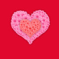 Pink heart flower valentine's day card on red background