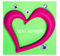 Pink heart on a green sticker Stock Photos