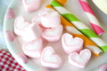 Pink heart marshmallow colorful candy party Stock Photos
