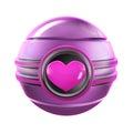Pink Heart Metal Sphere