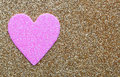 Pink Heart over Gold Glitter background. Valentines Day Card Royalty Free Stock Photo