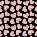 Pink heart in pieces on a black background