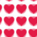 Pink heart seamless pattern on a white background.