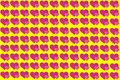 Pink Heart Shape on Yellow Background. Hearts Dot Design. Can be used for Articles, Printing, Illustration purpose, background,