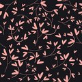 Pink heart shaped leaves seamless vector pattern on dark background.