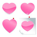 Pink heart stickers a set of shaped sticker icons and post it notes Royalty Free Stock Images