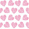 Pink heart from traces of paws footprint love pattern seamless v