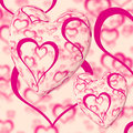 Pink Hearts Design On A Heart Background Stock Images