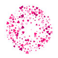 Pink hearts round background template.