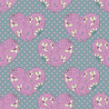 Pink hearts seamless pattern with floral Royalty Free Stock Images