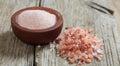 Pink Himalayan Salt On A Table