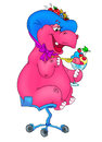 Pink hippo ice cream dessert Royalty Free Stock Photos