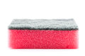 Pink household sponge close up on a white background Stock Photos