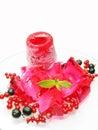 Pink ice-cream with fruit marmalde dessert Stock Photos