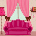 Pink interior. Living room Royalty Free Stock Image
