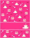 Pink invitation with a cup of coffee and cake Royalty Free Stock Images