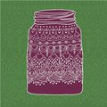 Pink jar with doodle lace Royalty Free Stock Photo