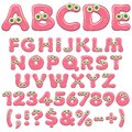 Pink jelly alphabet, letters, numbers and characters with green eyes. Isolated colored vector objects.
